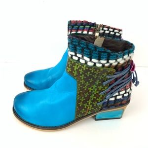☮️ New Iliyah leather blue boho ankle booties 38